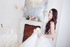 Portrait of beautiful bride. Dress with open back. Wedding decoration Royalty Free Stock Image