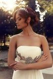 Portrait of beautiful bride in elegant wedding dress Royalty Free Stock Photography