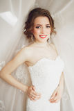 Portrait of beautiful bride with fashion veil and dress at wedding morning Stock Image