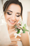 Portrait of beautiful bride with fashion veil at wedding morning. Stock Photos
