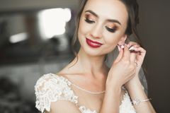 Portrait of beautiful bride with fashion veil at wedding morning.  Royalty Free Stock Images