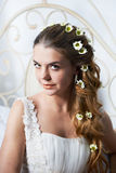 Portrait beautiful bride with flowers in hair stock photo