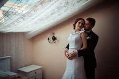 Portrait of a beautiful bride and groom Royalty Free Stock Photos