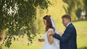 Portrait of a beautiful bride and handsome groom happy together in a birch grove. The groom comes to the bride behind. And gives her a bouquet. Joint arms stock footage