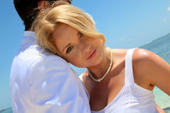 Portrait of beautiful bride in honeymoon Stock Photography