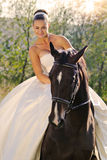 Portrait of beautiful bride with horse Royalty Free Stock Photos