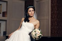 Portrait of a beautiful bride indoors Royalty Free Stock Image