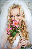 Portrait beautiful bride with lily Royalty Free Stock Photo