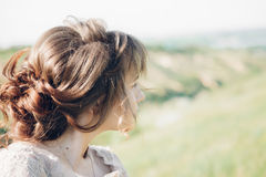 Portrait of beautiful bride in nature. fine art photography. Royalty Free Stock Photography