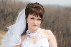 Portrait beautiful bride. Outdoors in a forest Royalty Free Stock Image