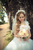 Portrait of beautiful bride in a park Royalty Free Stock Image