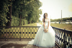 Portrait of beautiful bride in a park Stock Images
