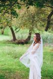 Portrait of beautiful bride in the park Royalty Free Stock Images