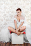 Portrait of beautiful bride in red shoes Royalty Free Stock Images