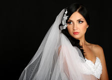 Portrait of the beautiful bride on vail stock image