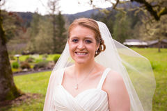 Portrait of Beautiful Bride on Wedding Day Stock Photo