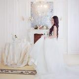 Portrait of beautiful bride. Wedding decoration. Luxurious light interior Stock Images