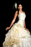 Portrait of the beautiful bride in wedding dress stock images