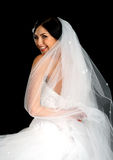 Portrait of the beautiful bride in wedding dress royalty free stock photos