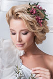 Portrait of beautiful bride. Wedding dress. Royalty Free Stock Image