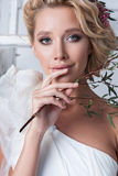 Portrait of beautiful bride. Wedding dress. Stock Photos