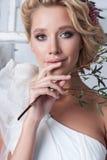 Portrait of beautiful bride. Wedding dress. stock photos