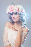 Portrait of beautiful bride. Wedding dress. Royalty Free Stock Photography