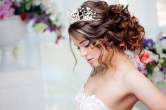 Portrait of beautiful bride in wedding dress Stock Image