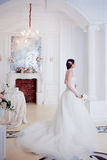 Portrait of beautiful bride. Wedding dress with open back. Luxurious light interior Royalty Free Stock Photography