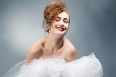 Portrait of beautiful bride in  Wedding dress. Wedding decoratio Stock Photo
