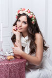Portrait of beautiful bride. Wedding dress. Wedding decoration Royalty Free Stock Images