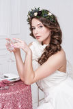 Portrait of beautiful bride. Wedding dress. Wedding decoration Royalty Free Stock Photos