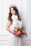 Portrait of beautiful bride. Wedding dress. Wedding decoration Royalty Free Stock Photography