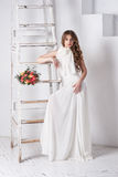 Portrait of beautiful bride. Wedding dress. Wedding decoration Royalty Free Stock Image