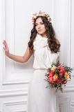 Portrait of beautiful bride. Wedding dress. Wedding decoration Stock Photos