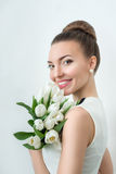 Portrait of beautiful bride. Wedding make up. Wedding decoration Royalty Free Stock Photography
