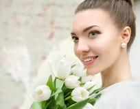 Portrait of beautiful bride. Wedding make up. Wedding decoration stock photography