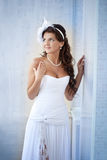 Portrait of beautiful bride in a white dress Royalty Free Stock Photography