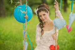 Portrait of a beautiful bride in white wedding Royalty Free Stock Photo