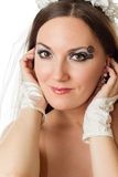 Portrait of beautiful bride woman with creative makeup and body art on white background. Stock Images