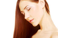 Portrait with beautiful bright brown long hair Royalty Free Stock Photo