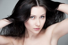 Portrait of beautiful brunette Stock Photos