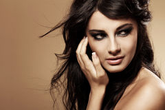 Portrait of beautiful brunette royalty free stock photo