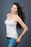 Portrait of a beautiful brunette Royalty Free Stock Images