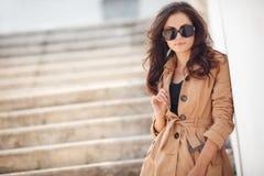 Portrait of a beautiful brunette in autumn colors Stock Photo