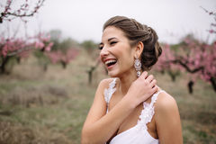 Portrait of a beautiful brunette bride.  Royalty Free Stock Photography
