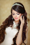 Portrait of beautiful brunette bride with long wavy hair styling Royalty Free Stock Image