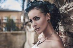 Portrait of Beautiful brunette Bride Woman Wedding Model stock photo