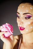 Portrait beautiful brunette  eating cake Stock Photography