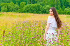 Portrait of a beautiful brunette in a field of purple flowers Royalty Free Stock Images